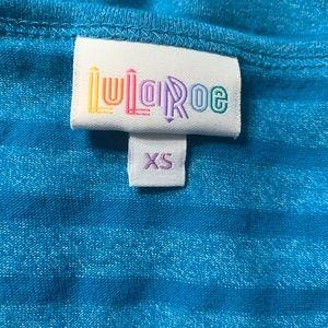 LuLaRoe Tops - LuLaRoe Irma Blue Stripe Top Sz XS